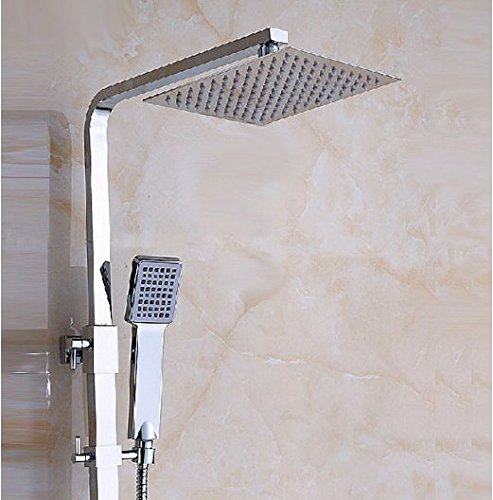 GOWE Chrome Finish Bathroom Wall Mount Shower Set Faucet 8