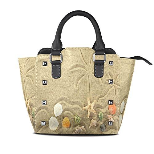 ALAZA Women's Sand Starfish Palm Tree Rivet PU Leather Tote Bag Shoulder Bag Purse (Palm Tree Purse)