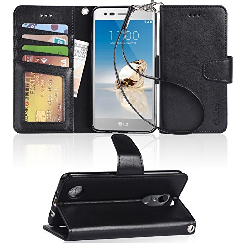 LG Aristo Case, LG Phoenix 3 Case, LG K8 2017 Case, LG Fortune Case, LG Risio 2 Case, LG Rebel 2 LTE Case, Arae LG Aristo wallet Case with Kickstand and Flip cover - Black