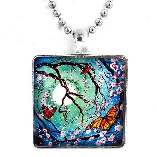 Monarch Butterfly Bead (Monarch Butterflies in Teal Moonlight Handmade Art Pendant (Unisex Ball Chain))