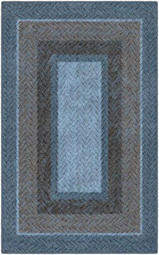 (Brumlow Mills EW10152-40x60 Blue and Brown Braided Printed Area Rug, 3'4