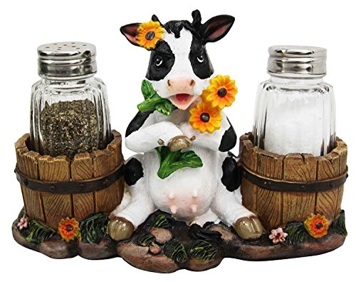 Ebros Sunflower Bovine Cow With Two Country Barrels Decorative Glass Salt And Pepper Shakers Holder Resin Figurine Milking Cow Country Barrel Statue Kitchen Decor ()