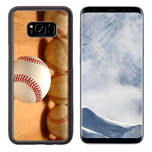 Luxlady Samsung Galaxy S8 Plus S8+ Aluminum Backplate Bumper Snap Case IMAGE ID 432208 New baseballs in front of group of old worn baseballs selective ()
