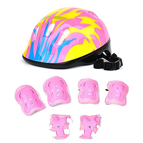 7Pcs Kids Sports Safety Protective Gear Set, RuiyiF Elbow Pad Knee Pads Wrist Guard Helmet for Scooter Skateboard Skating Blading Cycling Riding - Pink