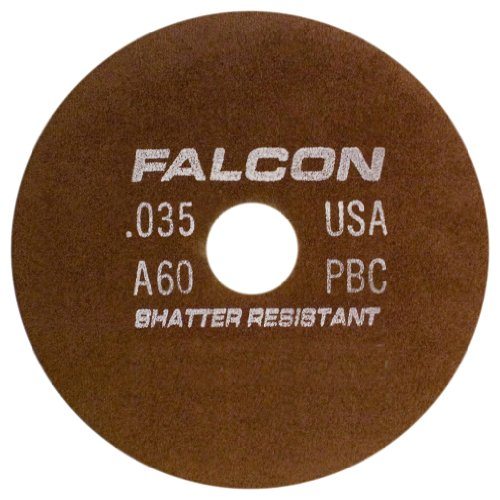 Falcon A60PBC Resinoid Bonded Shatter Resistant Tool Room Reinforced Abrasive Cut-off Wheel, Type 1, Aluminum Oxide, 1-1/4'' Hub, 6'' Diameter x 0.035'' Thickness, 60 Grit (Pack of 2) by Falcon