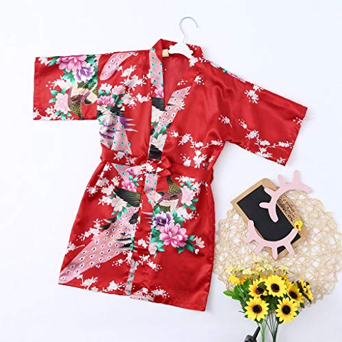 Ywoow ❤ Toddler Baby Kid Girls Floral Silk Satin Kimono Robes Bathrobe Sleepwear Clothes (18-24 Months, Red) by Ywoow (Image #1)