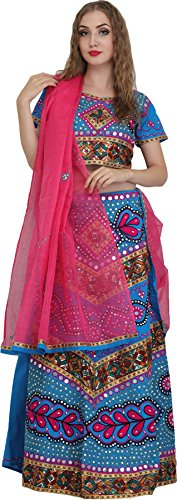 Exotic India Lehenga Choli from Jodhpur with Hand-Embroidered Beads and Sequins - Color Cyan Blue