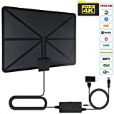 HDTV Antenna,ZAMO Indoor Amplified HD Digital TV Antenna Up To 60-80 Miles Long Range With Powerful HDTV Amplifier Signal Booster & High Reception Performance 16.5ft Coax Cable Black