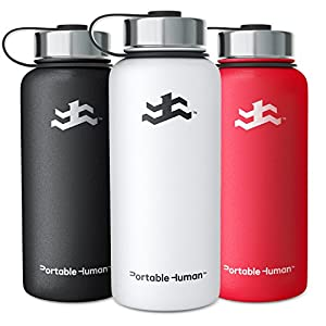 Portable Human 32oz Water Bottle - Wide Mouth - Vacuum Insulated 18/8 Stainless Steel - Powder Coated - Large Gym Hydro Sports Flask - (White)