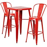 Flash Furniture 23.75'' Square Red Metal Indoor-Outdoor Bar Table Set with 2 Stools with Backs