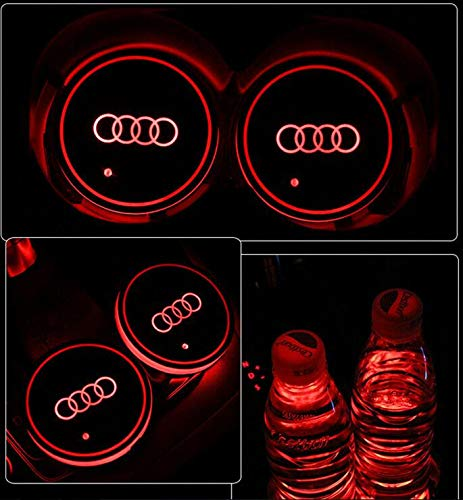 for BMW GUANGGU LED Car Logo Cup Holder Pad 7 Colors Changing USB Charging Mat LED Cup Mat Car Atmosphere Lamp Decoration Lights 2PCS