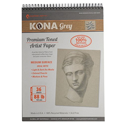 Global Art Materials Kona Grey Toned Artist Paper Pad, 8 by 10-Inch (Grey Pad)