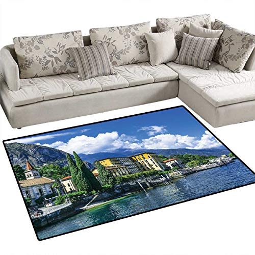(Italy Girls Bedroom Rug The Panoramic Landscape of Lake Como Mountains and Clouds Digital Image Print Door Mat Indoors Bathroom Mats Non Slip 36