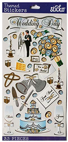 Sticko Wedding Day Sticker Sheet | 33 Stickers | Cake, Bride & Groom, Bells, Flowers ()
