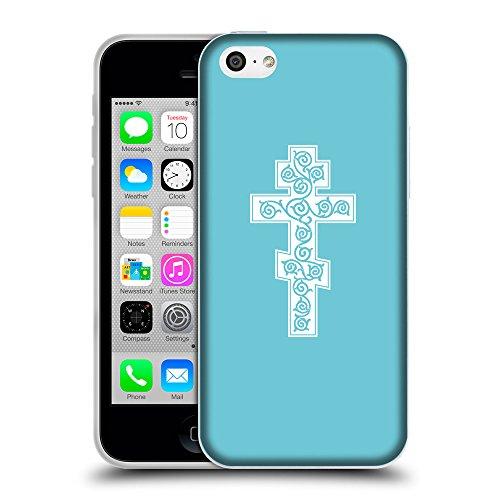 GoGoMobile Coque de Protection TPU Silicone Case pour // Q09340627 Croix chrétienne 44 Cyan // Apple iPhone 5C
