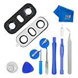 MMOBIELBack Rear Camera Real Glass Lens Replacement Complet Set + Pre-installed 3M Adhesive + FullToolkit incl. Tweezers for LG G6 G600S H870 H870K H870S H870V Dual H870DS Astro Black