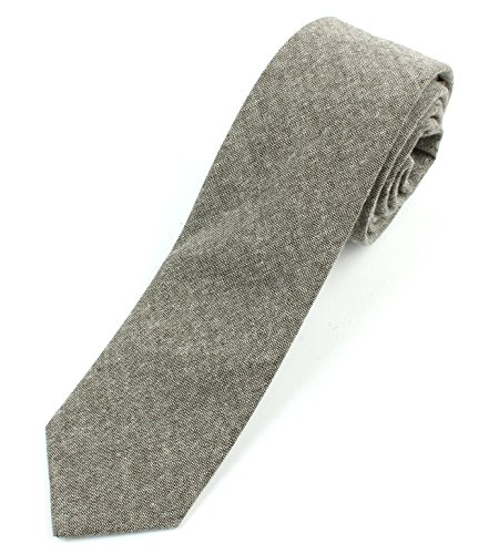 Men's Chambray Cotton Skinny Necktie Tie - Brown