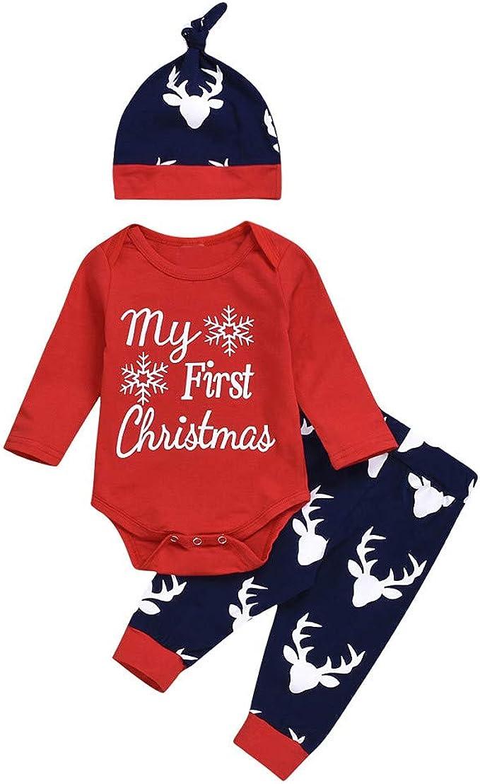 Christmas Toddler Baby Kids Boys Girl Long Sleeve Romper Tops Pants Hat 3PCS//Set
