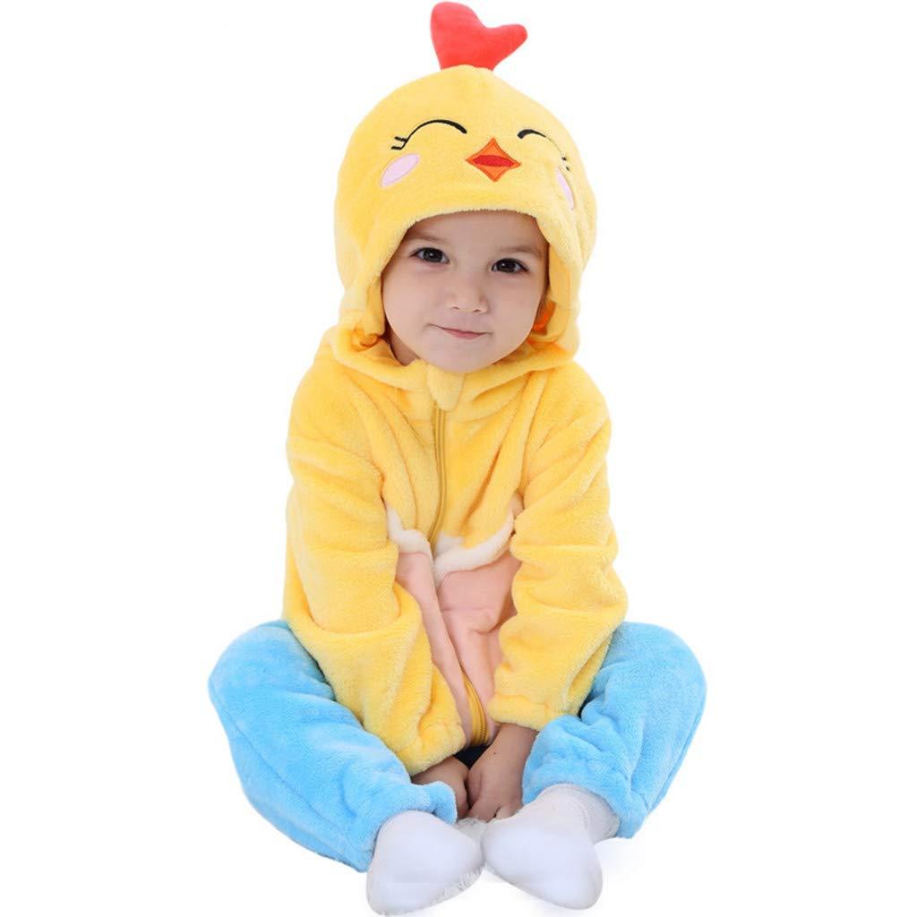 Baby Spieler Strampler S/äugling Kapuze Rei/ßverschluss Flanell Outfits Tier Karikatur Schlafanzug