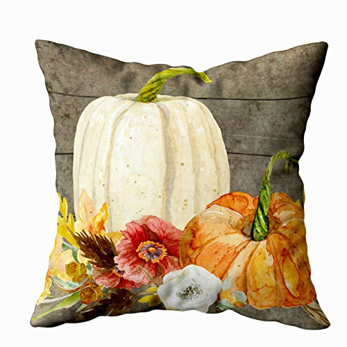 (EMMTEEY Home Decor Throw Pillowcase for Sofa Cushion Cover,Watercolor White Pumpkin red Poppy Fall Leaf Wood Decorative Square Accent Zippered and Double Sided Printing Pillow Case Covers)