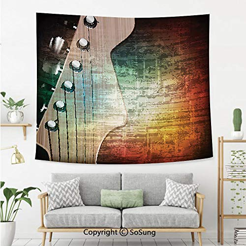 SoSung Guitar Wall Tapestry,Abstract Grunge Retro Background with Headstock and Tuning Pegs Blues Jazz Musician,Bedroom Living Room Dorm Wall Hanging,60X40 Inches,Multicolor