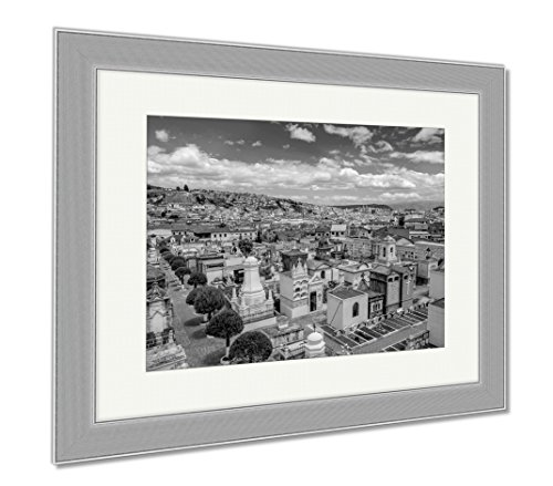 Ashley Framed Prints Spectacular Overview Of Cemetary San Diego Showing Typical Catholic Graves With, Wall Art Home Decoration, Black/White, 26x30 (frame size), Silver Frame, AG6523021 by Ashley Framed Prints