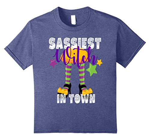 [Kids Sassiest Witch In Town Halloween Shirt Kids Sassy Funny Mom 10 Heather Blue] (Halloween In Nyc For Kids)