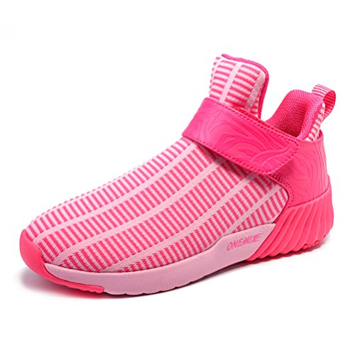 Yidiar Womens Lightweight Stripe Ademende Hook Loop Sport Hardloopschoenen Athletic Sneakers White Pink