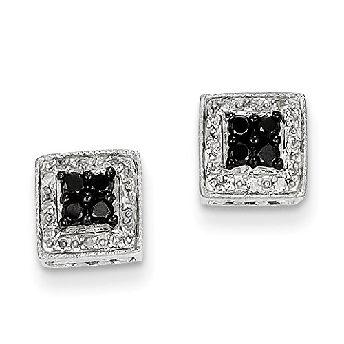 14k White Gold White And Black Diamond Square (0.25ct H/SI2) Stud Earrings ()