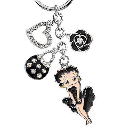 New Cute Crystal Betty Boop Love Heart Black Handbag Rose Flower Charms Keychain Z370-B