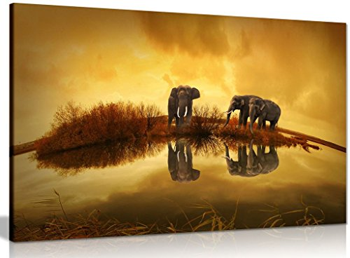 Thai Elephants At Sunset Canvas Wall Art Picture Print (12x8in) by Panther Print