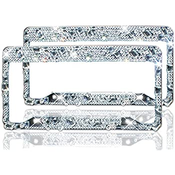 Amazon.com: Bling License Plate Frame 2 Pack - Pure Handmade ...