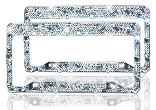 Bling License Plate Frame 2 Pack - Pure Handmade Waterproof Glitter Rhinestones Diamond Crystal License Frames plate for Both Front and Back License Tag by ZATAYE (Diamond Tag)