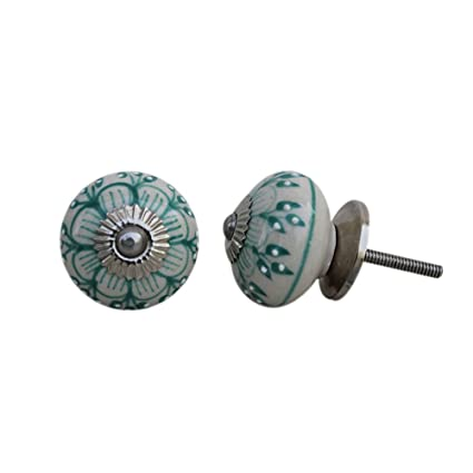 Set Of 12 Ceramic Sea Green Drawer Knobs Elegant Door Pull Dresser Handles  Pretty Ravishing Silver