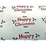 Pack de 48 Feliz Navidad Juntas , 40x20mm Ovalado Sello Etiquetas, Pegatinas para Envoltura De Regalos, regalos, Sobres, Bolsas o Tarjetas