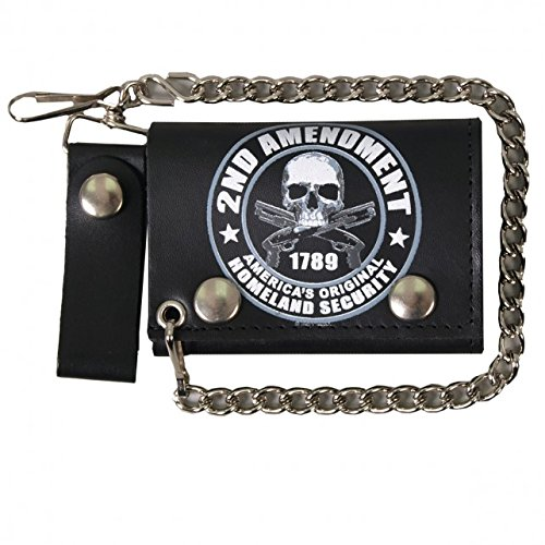 Hot Leathers, 2nd AMENDMENT, 1789 AMERICA'S HOMELAND SECURITY, Detachable Chain & Leather Belt, Bikers Tri-Fold WALLET by Officially Licensed Originals