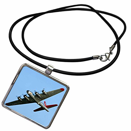 3dRose Danita Delimont - War Planes - B-17G Flying Fortress Aluminum Overcoat, War Plane - US50 BFR0034 - Bernard Friel - Necklace with Rectangle Pendant -