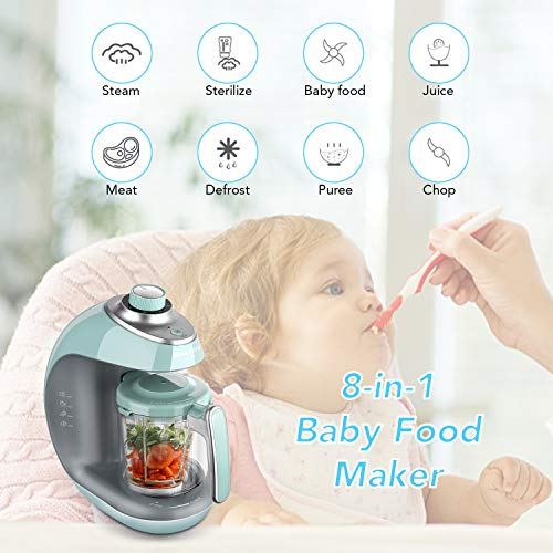 51z9JB8iI3L - Maxkare Baby Food Maker 8 In 1 Meal Station For Toddlers With Steam,Blend,Juice,Warm,Puree,Chop,Disinfect,Clean Function, 20 Oz Tritan Stirring Cup,Built In Timer,Steam Cooker And Blender Processor