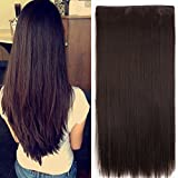 Imported 5 Clips Straight Hair Extension For Women And Girls 24 Inch Feel like Real Hairs (Brown)