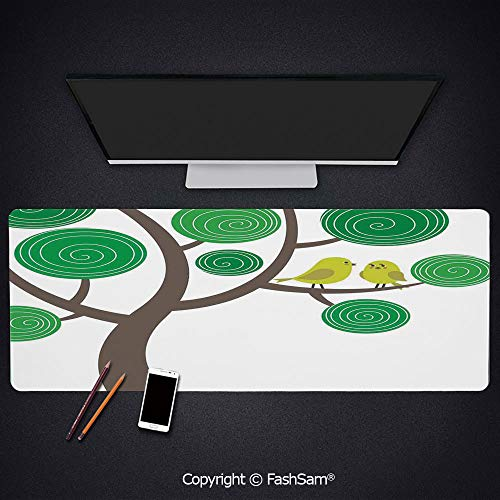 Personalized Large Mouse Pad Colorful Yellow Birds On Green and Brown Tree Wildlife Park Cartoon Fun Art Print Decorative Keyboard Pad for Laptop(W27.5xL11.8)