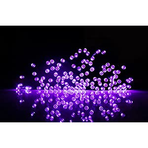 woohaha Solar String Lights Outdoor Waterproof, 72ft 200LED Updated Version 6hrs Timer Function with USB Cable Solar Powered String Lights for Patio Garden Party Pathway (Purple)