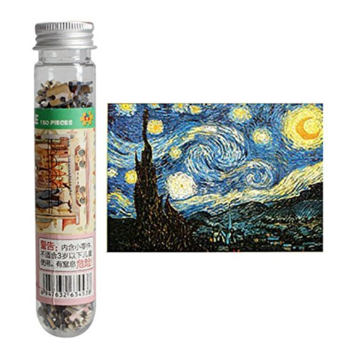 Farsla 150 Pieces Mini Puzzle Starry Night by Van Gogh Jigsaw Puzzle for Kids Adult -