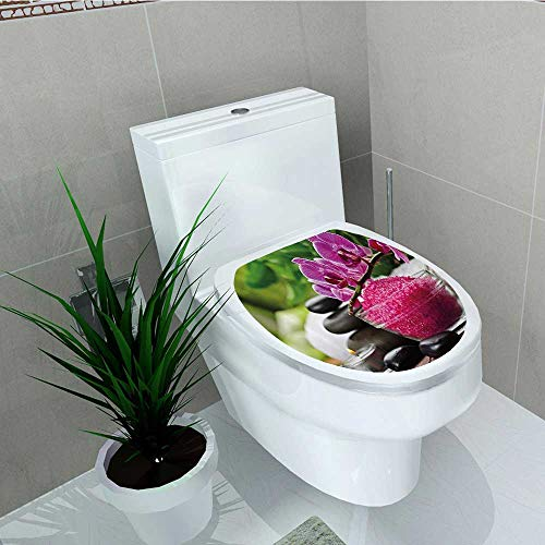Decal Wall Art Decor Black Zen STE Triplets Asian Type Orchids Fuchsia Salt Bathroom Toilet Decoration W14 x L16