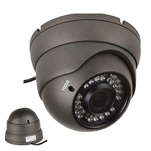 101AV 1000TVL Dome Security Camera 2.8-12mm Varifocal Lens 1.4 Megapixel CMOS Sensor 100ft IR Range 36pcs Infrared LEDs Weatherproof Vandal proof Metal High Resolution Color Wide Angle View Day Night for CCTV Outdoor DC 12V Charcoal