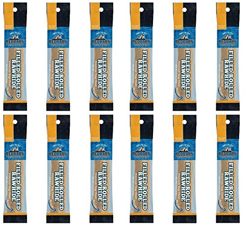 (REDBARN 12 Pack of Filled Rolled Rawhide, 6 Inches Each, Chicken Flavor)