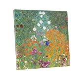 "Niwo ART (TM) - Bauerngarten Farm Garden, by Gustav Klimt, Oil painting Reproduction - Giclee Wall Art for Home Decor, Gallery Wrapped, Stretched, Framed Ready to Hang (16""x16""x3/4"")"