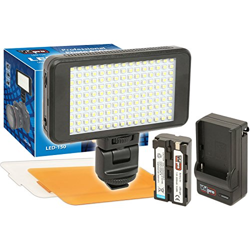 Vidpro LED-150 Ultra-Slim Video Light with 2 Diffusers, Battery & Charger by VidPro