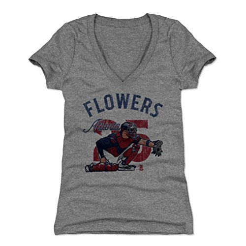 500 LEVEL's Tyler Flowers Women's V-Neck Shirt Medium Tri Gray - Atlanta Baseball Fan Apparel - Tyler Flowers Arch B (Tyler Flowers)
