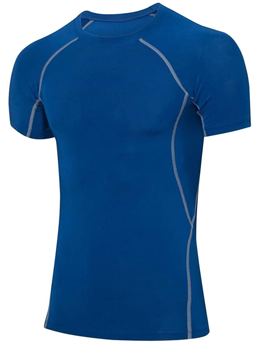 Spirio Mens Athletic Compression Performance Tight Base Layer Tops T-Shirt