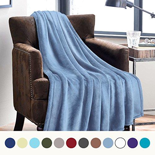 Light Blue Fleece (Flannel Fleece Luxury Blanket Washed Blue Twin Size Lightweight Cozy Plush Microfiber Solid Blanket by Bedsure)